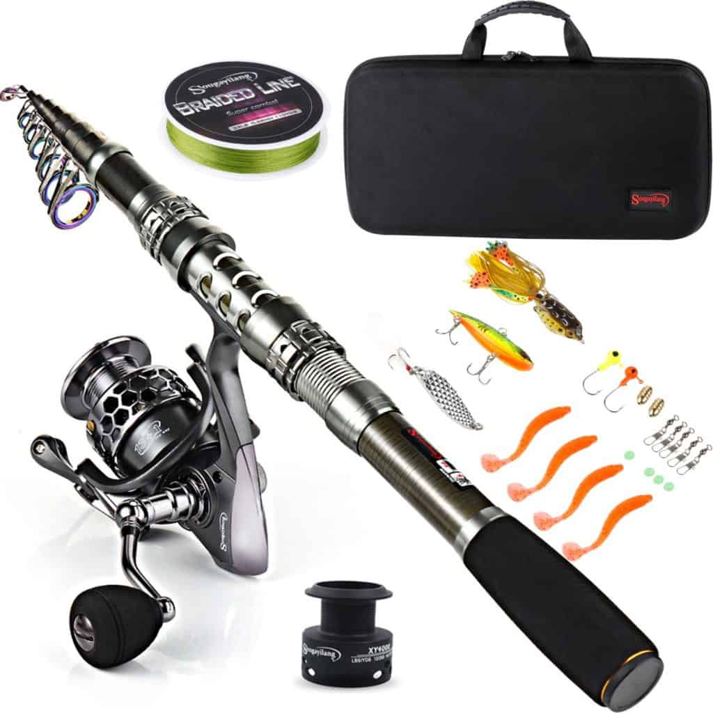 Sougayilang Fishing Rod with Telescopic Fishing Pole and Spinning Reels